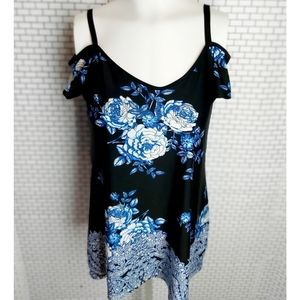 Beautiful Blue and Black Floral Top.